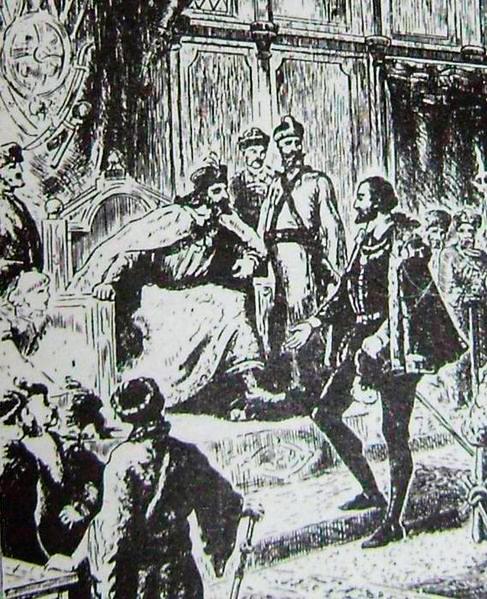 Ричард Ченслер на приеме у русского царя Ивана IV Грозного, 1553 г. (фрагмент старинной французской гравюры)