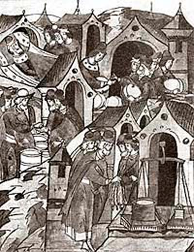 «Торговля хлебром и медом», миниатюра Летописного лицевого свода, XVI в.
