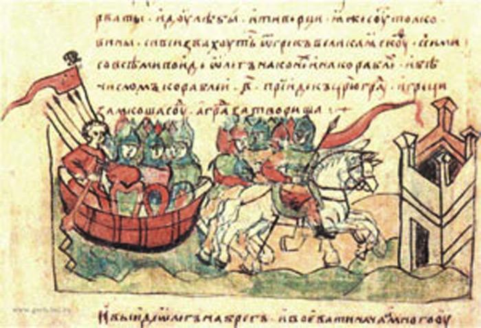 Олег ведёт армию к стенам Царьграда (Константинополь), Византия, 907 г. (Миниатюра из Радзивилловской летописи начала XIII века)