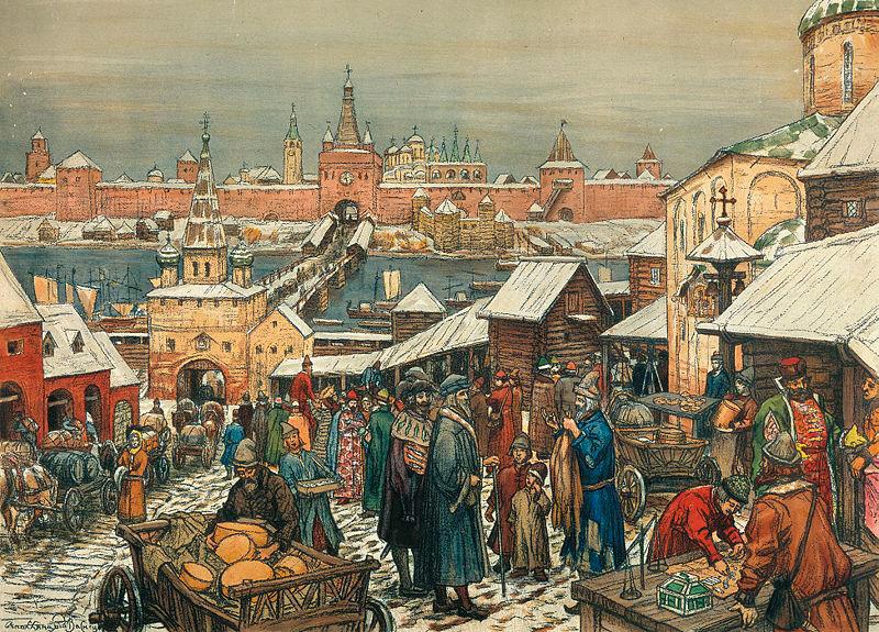 Картина Аполлинария Васнецова - «Новгородский торг»